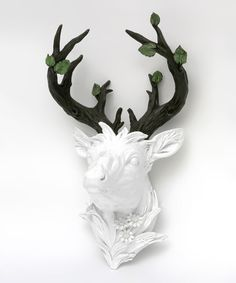 Love this White Branch-Antler Deer Head Wall Décor by Green Tree Products on #zulily! #zulilyfinds