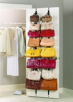 Use belt at backside of wardrobe to place all your handbags on hooks