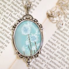 Dandelion Necklace - Silver Pendant - Perennial Moment (aqua blue) - Wearable Art with Silver Chain