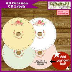 All Occasion Printable DVD CD Labels Set of 4 by DigiGraphics4u