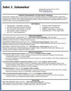 Construction Manager Resume PDF
