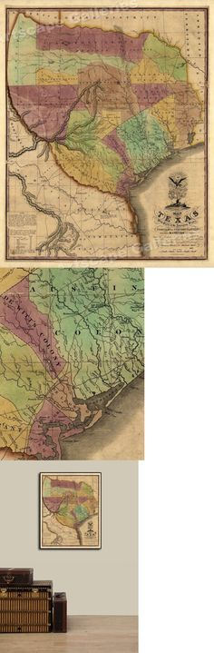 24x32 1822 Map of Texas Territory and Gulf Coast by Stephen F Austin
