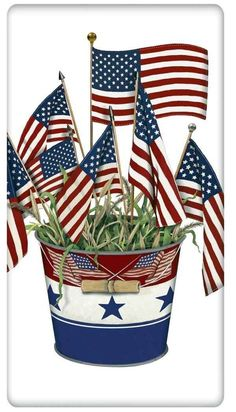 Patriotic Flag Bucket 100% Cotton Flour Sack Dish Towel Tea Towel