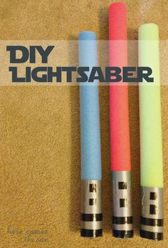Star Wars Party Games: DIY Lightsaber via herecomesthesunblog.net; I also found glow in the dark foam sticks around Halloween that I used for these.  Pretty awesome!