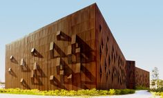 "Perforated Corten Steel Facade // Raif Diçkök Kültür Merkezi - Raif Dinçkök Cultural Centre // Architecture: Emre Arolat Architecture ""EAA"" // Yalova TURKEY  // Metal Fabricator: Kasso Engineering"
