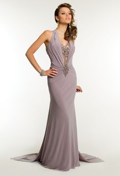 Long Jersey Dress with Beaded Plunging Neckline from Camille La Vie and Group USA