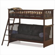 Antique Walnut Columbia Twin Over Futon Bunk Bed with Flat Panel Bed Drawers by Atlantic Furniture - Click to enlarge