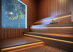 Unique Home Interior Diy Sauna, Sauna Steam Room, Sauna Room, Turkish Bath House, Sauna Lights, Modern Saunas, Sauna A Vapor, Sauna Seca, Sauna House