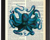 Blue Octopus Art Print, Vintage Dictionary Wall Decor, Sea Life Underwater Artwork, Octopus Painting, Octopus Wall Decal, Ocean Art Print