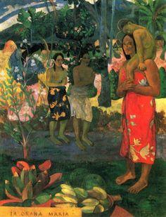 the Art Curator for Kids - 5 Favorite Madonnas in Art - Paul Gauguin, la Orana Maria (Hail Mary), 1891, oil on canvas