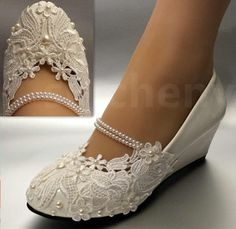 White Light Ivory Lace Wedding Shoes Flat Low High Heel Wedges Bridal Size 5-12