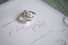 great shot of rings on invitation