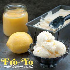 Bjud på en läskande frozen yoghurt smaksatt med lemon curd. Ice Cream 1, Frozen Yoghurt, Lemon Curd, Dessert Recipes, Desserts, Sorbet, Cheesecake, Snacks, Fruit