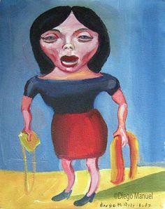 """La morocha"", gouache on paper, 24x 18 cm., year 1998"
