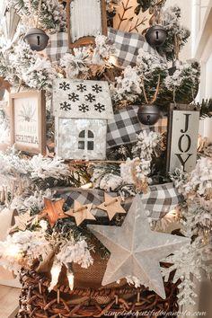 A Farmhouse Style Christmas Tree | Simply Beautiful By Angela Merry Christmas, Flocked Christmas Trees, Woodland Christmas, Beautiful Christmas Trees, Christmas Tree Toppers, Rustic Christmas, Christmas Home, White Christmas, Christmas Ideas