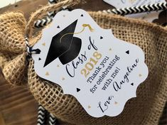 Graduation Poster Ideas Discover 12 Graduation Favor tags - Graduation Thank you favor tags - Class of (your year) - Custom wording - Black and Gold Graduation thank you tag Graduation Party Desserts, Graduation Party Centerpieces, Graduation Party Planning, Graduation Party Favors, College Graduation Parties, Graduation Celebration, Graduation Decorations, Grad Parties, Graduation Ideas