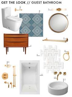Blue & Gold Mid Century Bathroom Makeover