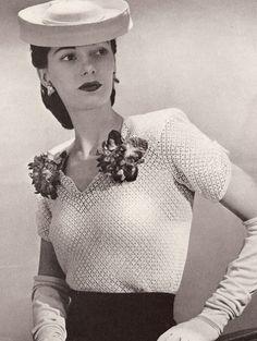 Vintage Crochet PATTERN Fancy Lacy Classic Blouse Top DinnerDateBlouse