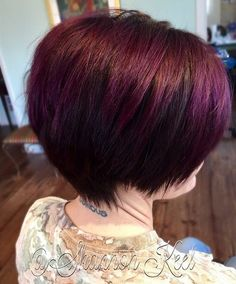 Short and sassy cut paired with plum color - perfect Short Hairstyles for Women