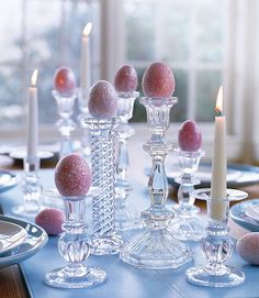 Glittered Easter eggs on glass candlesticks make for an elegant table display! decorations elegant Easy and Creative Easter Egg Decorating Ideas That Anyone Can Do Hoppy Easter, Easter Eggs, Easter Bunny, Easter Food, Glass Candlesticks, Candelabra, Easter Parade, Easter Celebration, Easter Holidays