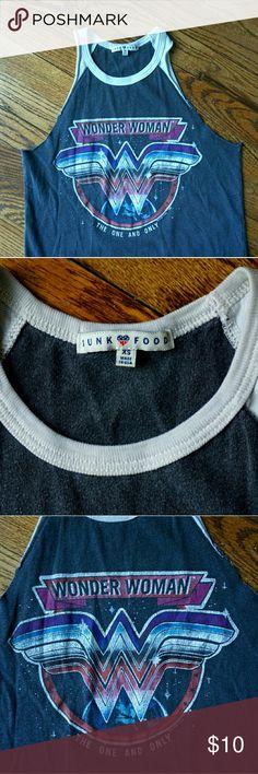 Junk Food WONDER WOMAN Tank XS Junk Food Clothing Inc. WONDER WOMAN Ragland Tank Size XS Junk Food Tops