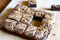 Peanut butter swirl brownies. doctored up brownie mix with a delicious peanut butter swirl! easy