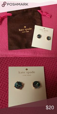 Medium-sized blue kate spade earrings. NWT. HP 💋 Medium-sized blue kate spade earrings. NWT. Base of the stud is gold in color. Shade of blue depends on the lighting! Gorgeous.  Comes with small dust bag.  Host pick!!!! 11.12.16 kate spade Jewelry Earrings
