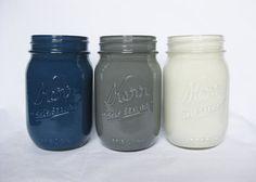 Dark Blue, Gray, and White Mason Jar Set, Painted Mason Jars, Mason Jar Set, Navy Blue, Wedding, Mason Jars on Etsy, $15.99 CAD