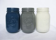 Dark Blue, Gray, and White Mason Jar Set, Painted Mason Jars, Mason Jar Set, Navy Blue, Wedding, Mason Jars on Etsy, $15.99 CAD