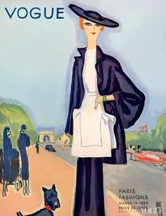 #Vogue, March 15, 1934 #Illustrated by Eduardo Garcia Benito, Woman in blue suit with white tunic walking her dog along the Champs Elysees.