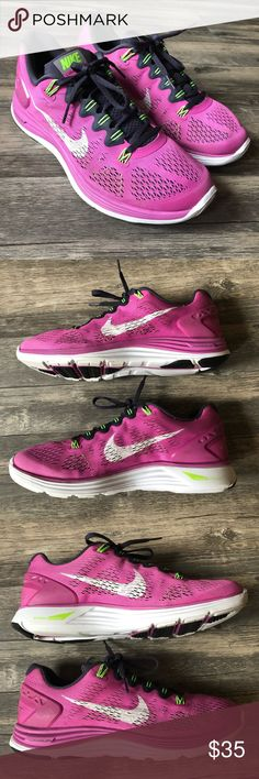3a331f7543c5 Nike Lunarglide 5 Pink White Neon Green 2014 Preowned Nike Lunarglide 5  Women s Size 10 Model