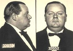 """San Francisco Police Department booking photograph, or """"mug shot,"""" of Roscoe """"Fatty"""" Arbuckle, taken shortly after his arrest for the death of Virginia Rappe."""
