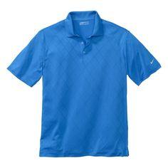 Nike Men's Blue Dri-FIT S/S Cross-Over Texture Polo