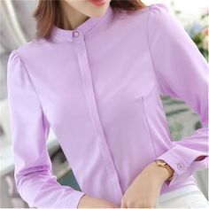 2017 Women Shirts Blouses Long Sleeve Stand Collar Elegant Ladies Chiffon Blouse Tops Fashion Office Work Wear Chemise Femme