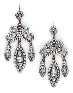 A Pair of Victorian Steel Cut Ear Pendants, with Three Tassel Drops, c. 1845. Available at FD.   www.fd-inspired.com