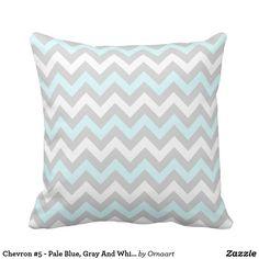 Chevron #5 - Pale Blue, Gray And White Pillow