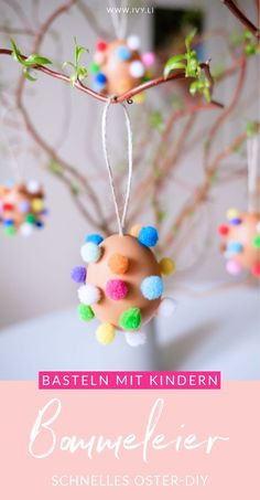 osterdeko-basteln-ostereier-mit-bunten-pompons/ - The world's most private search engine Diy Gifts For Kids, Easter Crafts For Kids, Diy For Kids, Diy Y Manualidades, Manualidades Halloween, Diy And Crafts, Paper Crafts, Diy Easter Decorations, Diy Home Decor Projects