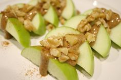 SNACK ALERT!!  I'm enjoying this: apples, melted almond butter, and walnuts... -  JJ Smith