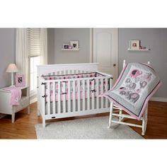Little Bedding by NoJo Elephant Time 4-Piece Crib Bedding Set, Pink
