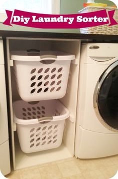 This is a neat way to organized your laundry room. All you need is a little plywood, screws and you got yourself a built in DIY laundry sorter.