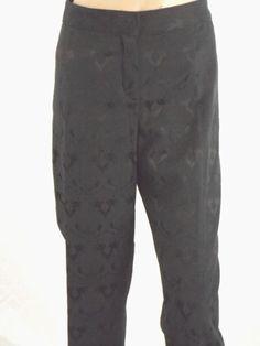 Ellen Tracy Black Brocade Stretch Betty Slim Ankle Casual Dress Crop Pants Sz 8 #EllenTracy #DressPants