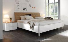 Doppelbett Bett 180 x 200 cm weiss Hochglanz Lack / Eiche natur Tambio28