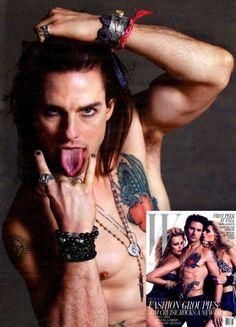 Jóias masculinas com estilo Rock N' Roll. Na foto, Tom Cruise.