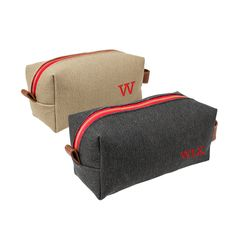 "These personalized leather + canvas dopp kits are great for saying ""thanks"" to groomsmen who traveled in for your wedding. Available in two colors with free embroidery."