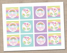 Roller Skates and Rainbows Birthday Party Cupcake Toppers Printable PDF - INSTANT DOWNLOAD