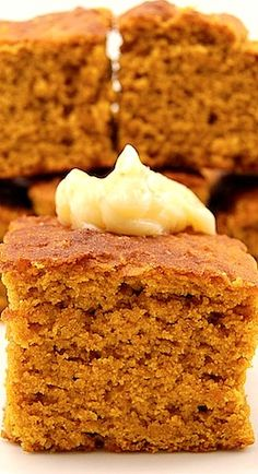 Pumpkin Cornbread ~ Moist pumpkin corn bread sweetened with cinnamon, nutmeg and molasses. Made for teacher appreciation I doubled the recipe used one can pumpkin just under 2 cups. I used level large scoops, made 31 muffins.i packed brown sugar. Pumpkin Recipes, Fall Recipes, Holiday Recipes, Pumpkin Cornbread Recipe, Sweet Cornbread, Muffins, Corn Bread, Fall Baking, Pumpkin Dessert