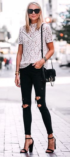 #summer #outfits Love Lace Paired With Ripped Jeans!