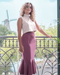 A neoprene, form-fitting skirt with a mid-calf length, back zipper closure, and flounce hem Australian Fashion, Online Shopping Clothes, Mauve, Amsterdam, Ballet Skirt, Closure, Zipper, Skirts, Collection