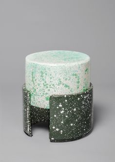 Kueng Caputo - series of benches, stools, bowls, and lights made from leather and enamel that have been splattered and sprayed with organic vegetable stains in order to create a wildly chromatic effect. #home #art
