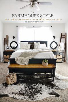 Home Decor - DIY Bedroom Makeover and Farmhouse Decor at the36thavenune.com